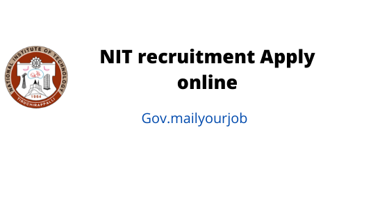 NIT recruitment apply online